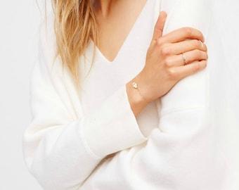 HAMSA armband • Gold Charm armband • Hand van Fatima Bracelet boze oog armband • CZ armband goud Hamsa, zilver Hamsa, Rose Gold Hamsa