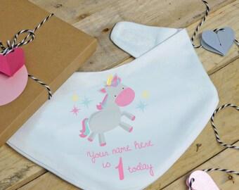 Personalised 1st birthday baby bandana bib - unicorn, cake smash, dribble bib, feeding bib birthday gift girls bandana bib, personalised bib