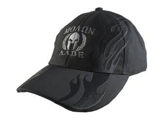Dual Silver Molon Labe Spartan Warrior Gladiator Laurels Embroidery on Black Adjustable Structured Fashion Black Racing Flames Baseball Cap
