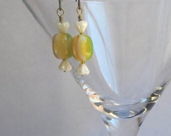 Ea-80  Ear Candy that looks like cellopane wrapped candy, but is actually Millefiore glass beads. Ear candy. Candy earrings.