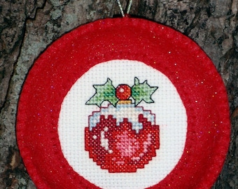 Cross Stitched Christmas Ball Ornament with Felt Border