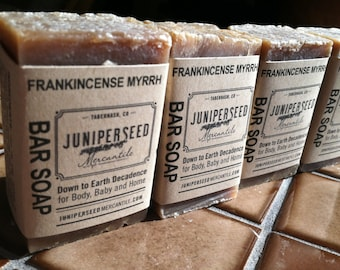 Frankincense Myrrh 4 Pack of Half Bar - Guest Soap, Thank You gift Natural Vegan Cold Process Bar Soap For Men and Women