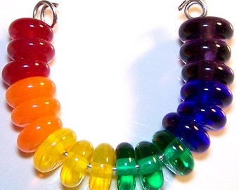 Handmade Somewhere Over The Rainbow Lampwork Spacer Beads by Cara