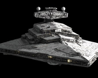 Huge STAR WARS IMPERIAL Star Destroyer Model Kit  w detailed hanger Bay & Lamda Class Shuttle