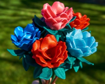 Maz's Hard Plastic Custom Flowers with Wooden Stem Wrapped in Yarn