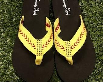 Softball Sandals Softball Flip Flops Fabric Stitch FLAT Size 6 7 8 9 10 11 12 NEW Sandals Thongs Sports Sandals Cocomo Soul