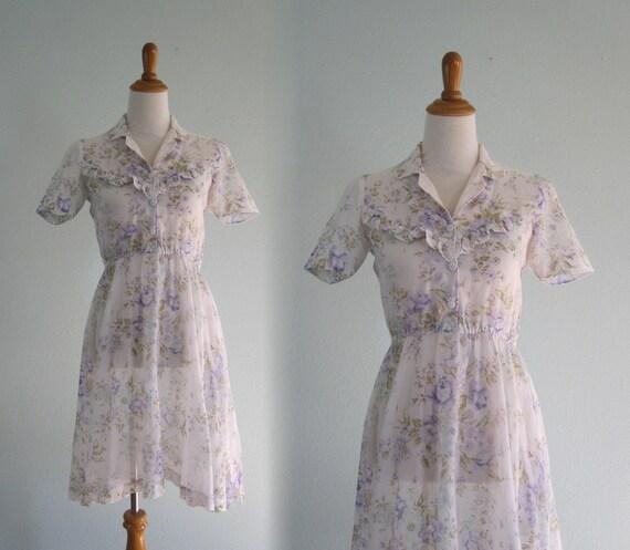 70s Sheer Dress   Vintage Violet Print Voile Dress   Pretty 70s Sheer Cotton Dress   Vintage 1970s Dress S by Etsy