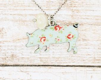 """Blue or Pink Floral Pig Necklace 18""""/Earrings/Bracelet or Set"""