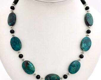 Green Gemstone Necklace, Green & Black Beaded Necklace, Chrysocolla Necklace, Semi Precious Natural Stone Necklace, Black Tourmaline
