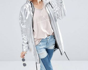 Silver Pearl PU Leather Raincoat with cotton inside. FREE SHIPPING!