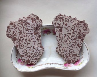 Brown floral thread winders for cross stitch threads. Lace cards. Thread cards.