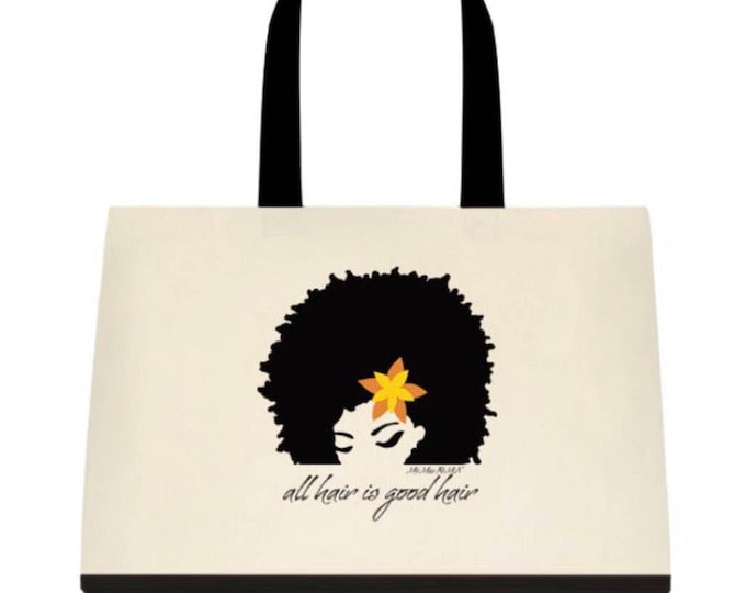 Featured listing image: all hair is good hair/todo pelo es pelo bueno Two-Tone Deluxe Classic Cotton Canvas Tote Bag