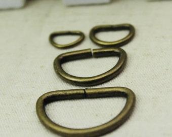 Antique Bronze D Ring for Bag Purse, Chains, Handle or Straps, 1-2.5cm, 20 PCS, R0093