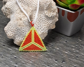 Seed Bead Necklace, Triangle Pendent, Boho Necklace, Geometric Necklace, Orange Necklace, Everyday Necklace