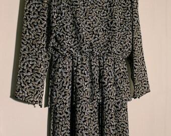 Vintage Dress Frill Ruffle Bow Tie Print 80s