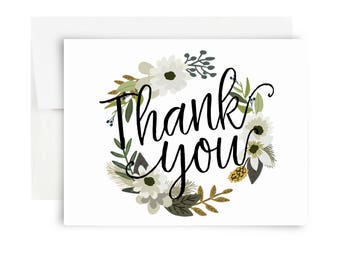 Thank You Wreath Card - Blank Green White Floral Wreath Folded Notecards Set Thank You Cards Rifle Paper Co Bearly Southern Co