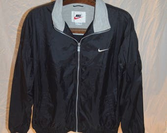Vintage Mens Black NIKE Full Zip Windbreaker Jacket - Size Extra Large