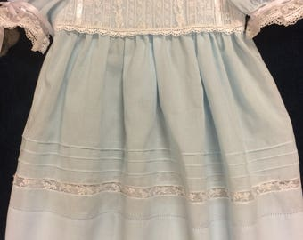 Lace yoke blue dress