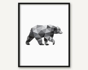 Printable Art, Home Printable, Geometric Bear, Animal Poster, Bear Illustration, Bear Wall Art, Home Decor, 8x10 Print, Simple Print,