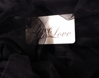 "Black tulle fabric, lingerie tulle fabric, evening dress tulle - 55"" (140 cm) wide - sold per meter T13188"