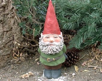 "SALE! Willard w/Hand-Sculpted Beard (Green) 14"" Tall Gnome"