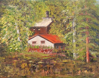 Original Oil Painting.  Summer house. Oil on canvas.