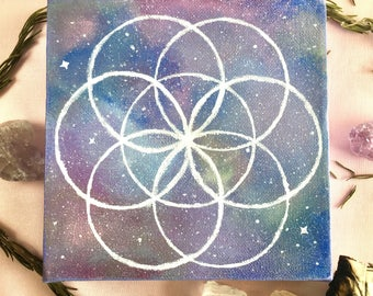 Cosmic Seed of Life Sparkly/Shiny OOAK Acrylic Painting - 6x6 inches