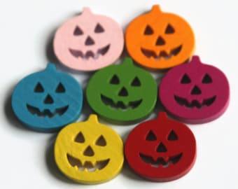 12 Pumpkin Buttons 20mm - Halloween Buttons - Pumpkins Shapes - Wooden Buttons - Bright Color - Mixed Colour - PW200