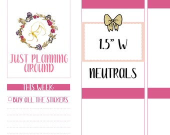 Neutral Bow Half Boxes, Bow Half Box Stickers, Half Box Planner stickers, Functional Stickers