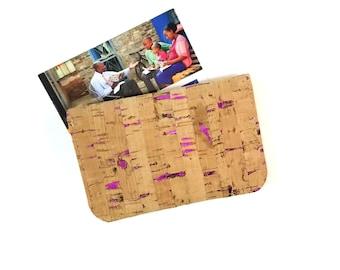 Pink Metallic Cork Leather Business Card Wallet - Credit Card Wallet - Business Card Holder - JW Contact Card Holder - Ministry Organizer