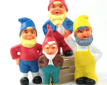 "2.25"" Dwarf Set - Set of 7 miniature dwarf gnome home dwarf figurine fairy garden diorama project craft hand painted dwarf - #149-0303s"
