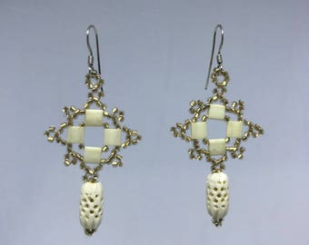Hand Stitched Beaded Earrings with Glass and Bone Beads