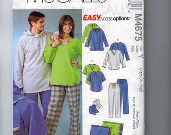 Womens Sewing Pattern McCalls M4675 4675 Misses Mens Pants Socks Blanket Fleece Easy Size XS S M or L XL UNCUT