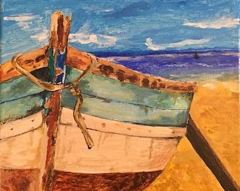 Modern Art - Boat Painting, Boat on Seashore, Boat Acrylic Painting on Canvas