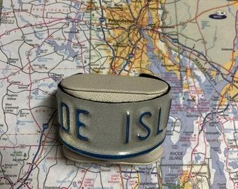 Rhode Island Vintage Recycled License Plate Bracelet