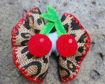Leopard Print And Cherries Hair Bow
