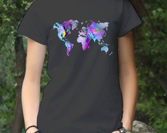 World Map Tee - Map Art T-Shirt - Fashion Tee - White shirt - Printed shirt - Women's T-shirt