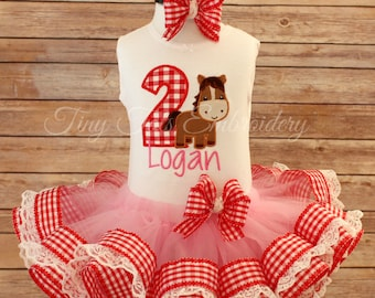 Barnyard Birthday Tutu Outfit ~ Includes Horse Birthday Top, Ribbon Trim Tutu & Hair Bow ~ Customize any way you like!