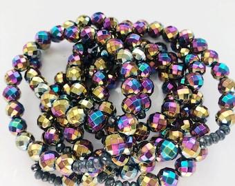 Rainbow Metallic Stack Bracelet