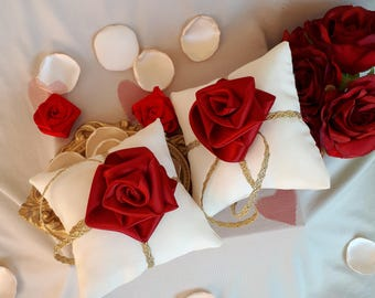 Fairytale Inspired White & Red Wedding Ring Pillow Wedding Ring Bearer Box Ring Bearer Pillows With Red Roses Cartoon Ring Cushion Pillows