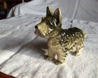 Terrier dog figurine, Vintage ceramics, 1950's made in Japan, 3 leaf clover mark