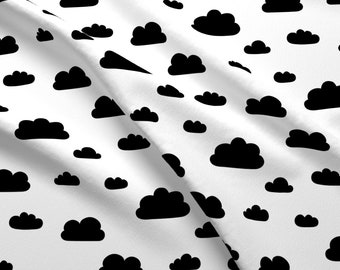 Clouds Fabric - Clouds - Black By Kimsa - Black Clouds White Sky Modern Nursery Decor Home Decor Cotton Fabric By The Yard With Spoonflower