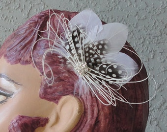 Wedding Bridal White, Guinea, Delicate Swirl of White Peacock Feather And Rhinestone Hair Piece