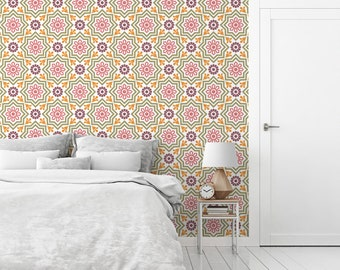Moroccan decor peel and stick wallpaper, Geometric wallpaper, Wall decor, Graphic art, Home decor, Interior decoration, Office wall. SP033