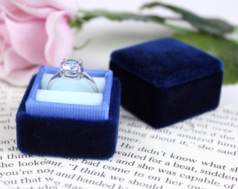 Velvet Ring Box in Ombre Blue for Weddings, Heirloom Jewelry, Gifts for the Bride to Be