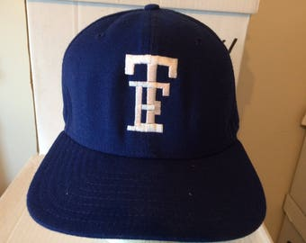 "Vintage Baseball Cap - ""TF"" symbol for Twin Falls high school baseball (Idaho) - not adjustable, size 7.5 - wool blend, embroidered letters"