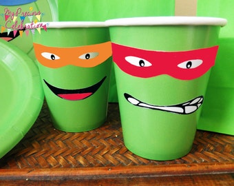 DIGITAL Ninja Turtles Labels for cups - Birthdays - Party Favors