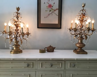 Pair Vintage Crystal Table Lamps Girandoles/candelabra Electric Antique  Brass Gold Chandelier/gilt Leaf Gilded Louis French Victorian Candle