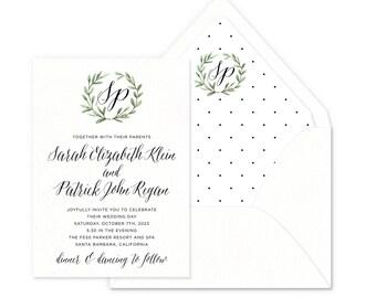 Blissful Wreath Wedding Invitations