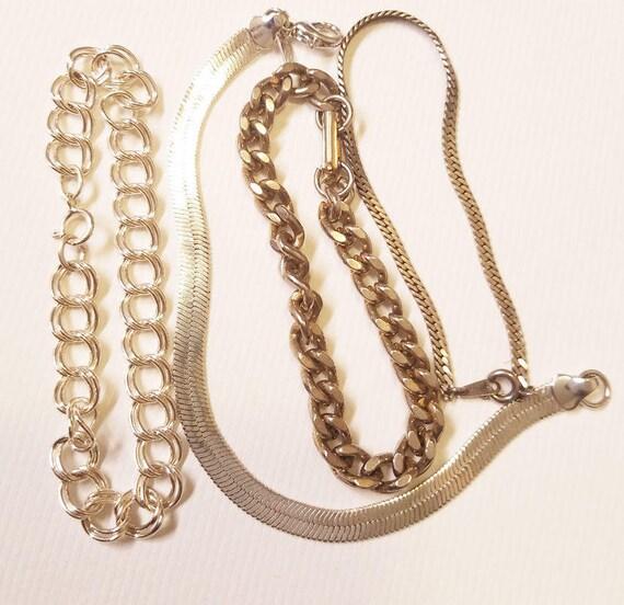 4 silver chain link cobra bracelets lot metal vintage unisex costume jewelry